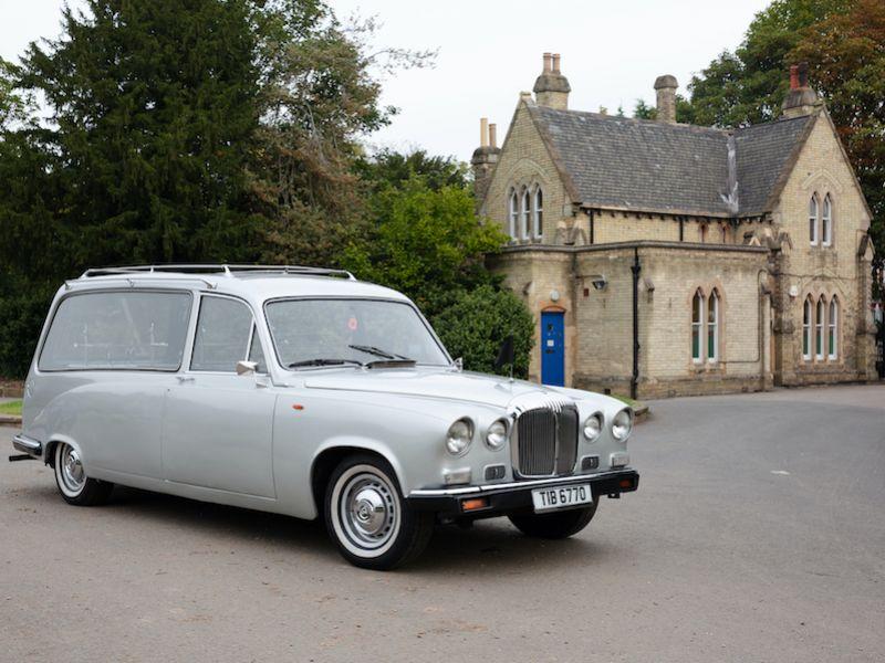 vintage silver Daimler hearse