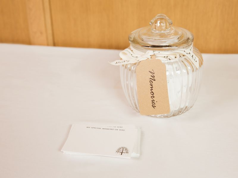 Memory jar and remembrance cards for funerals