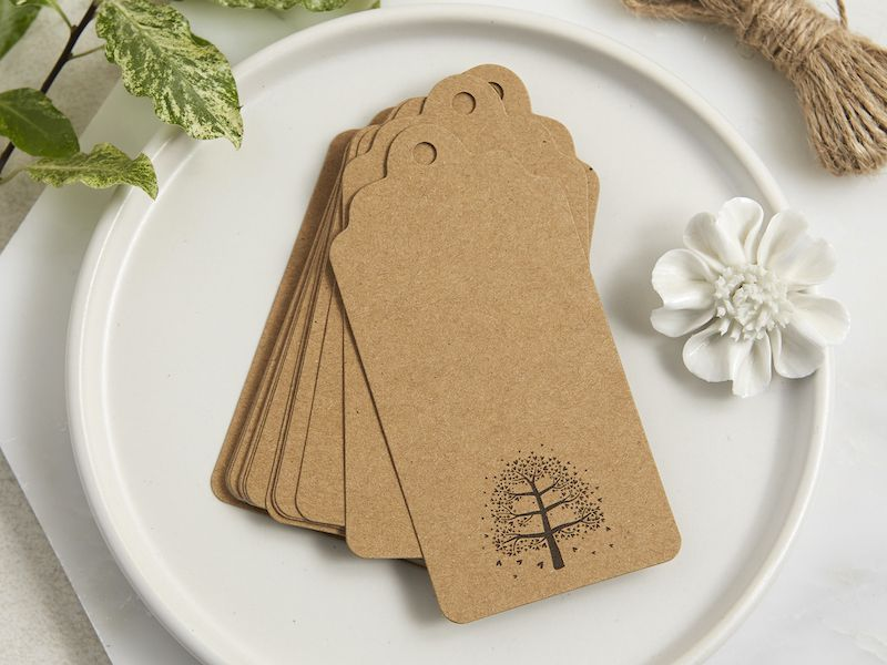 Brown memory tree or coffin tags