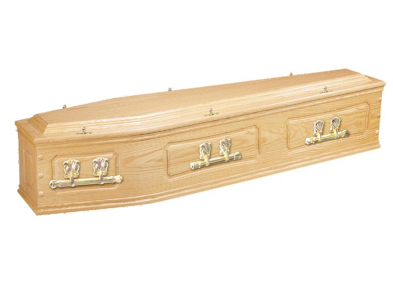 trad solid oak coffin